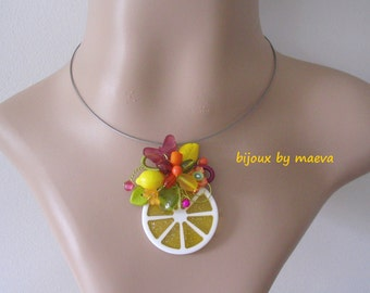 Costume Jewelry Yellow Necklace with Citrus Pendant