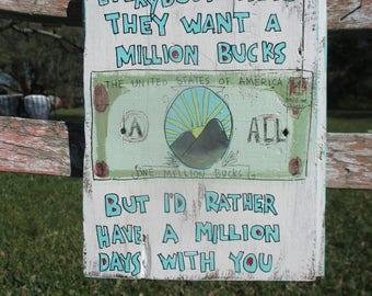 All punk lyrics art on salvaged wood, million bucks, outsider art, punk rock art, paintingon wood, lyrics painting, All punk band