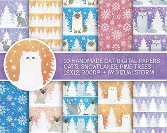 Cute Cats Digital Paper Winter Cat Scrapbooking Printable Christmas Kitty Backgrounds Snowflakes Pine Trees Snow Cat Birthday Party Patterns
