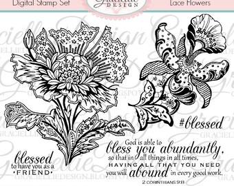 Lace Flowers - Digital Stamp Set