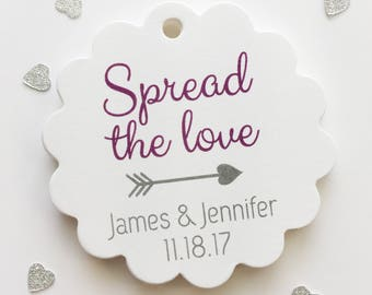 Spread The Love tags, Jam tag, Jam Wedding Favor Tags, Wedding Tags (SC-248)