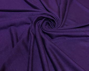 EGGPLANT Rayon Spandex Jersey Knit Fabric, 4 Way Stretch, Four Way, BTY By The Yard