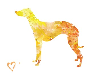 Whippet Greyhound Dog Silhouette - 8x10 Watercolor Print Artwork of Colorful Yellow and Orange Dog for Pet Lovers, Dog Lover Gift, Decor