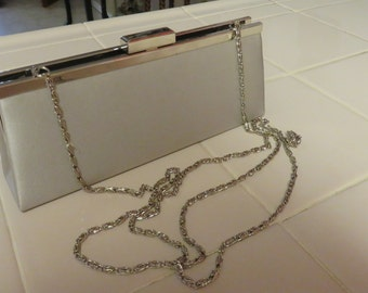 Pretty Vintage Nordstrom Satin Evening  Clutch Purse With Shoulder Length  Chain