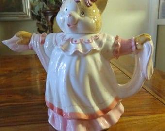 Adorable Vintage Porcelain Cat In A Gown Tea Pot