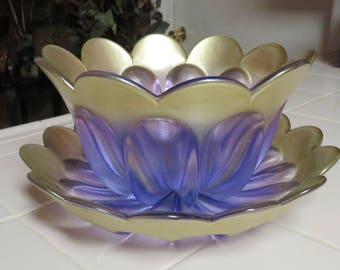 Gorgeous Vintage Waltherglas Lavender Gold  Cut Glass Bowl And Platter Germany