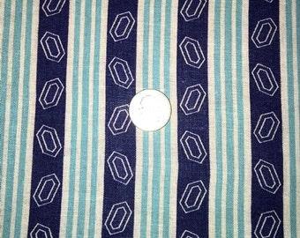 Vintage Feedsack Fabric 1930's 1940's 1950's Cotton Quilt Fat Quarter Blue Aqua Stripes Craft