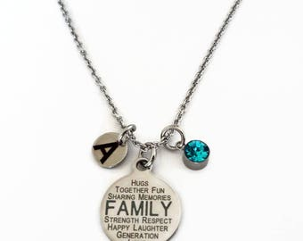 Family Stainless Steel Charm Necklace - Message Jewelry - Family Pendant Gift - Personalized with Initial Birthstone