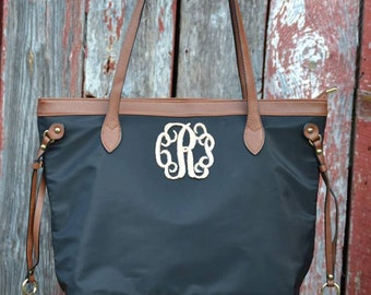 Monogram Black Purse Tote , Nylon Tote Purse, Preppy Monogram Handbag, Season's Trendy Tote