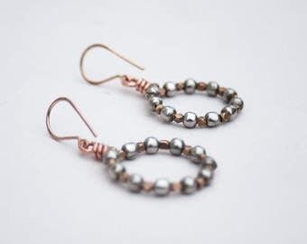 Gypsy party hoops, Sparkly hoop earrings, Mixed metal earrings, Bronze and brass, Bohemian earrings, Winter jewellery, new years, christmas