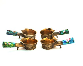 Chinese Silk Iron Enamel Handle , Set of 4 , , Cast Brass with Double Dragon Relief , Uses Hot Coals , Brass Coal Pan Bowl Cloisonné Enamel