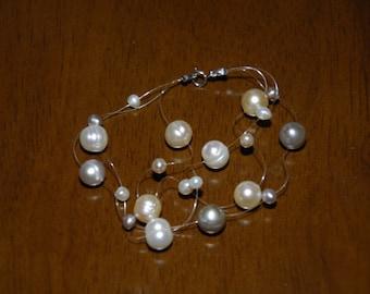 3 Strand Sterling Silver Floating Multi Color or White or Lavender or Pink Pearl Illusion Bracelet