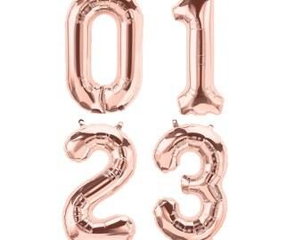 """16"""" rose gold foil mylar number balloons"""