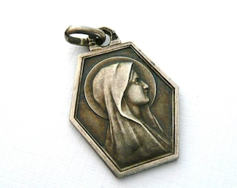 Vintage French Silver Our Lady of Lourdes Medal, Silver Virgin Mary Medal