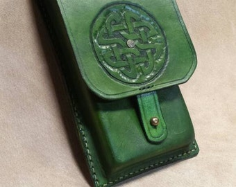 Green Celtic design leather cell phone pouch