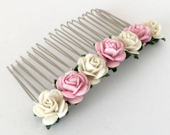 Pink Hair Comb, Ivory and Pink Bridal Hair Comb, Wedding Hair Comb, Bridal Hair Accessories, Bridesmaid Hair Comb,