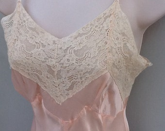 Deena California 1950's Lace Trim Pale Pink Slip/Nightie