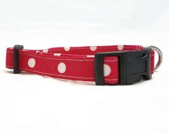 "Dog Collar - ""Big Polka Dots"" - Fuchsia/Pink/White - Small/Medium/Large/Extra Large - Spring Dog Collar - Easter Dog Collar"