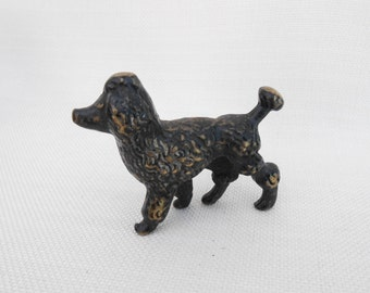 Small Brass Poodle Dog Figurine Painted Black - Metal Dog - Vintage Collectible Dog, Terrarium Figurine, Dog Figurine, Poodle Ornament