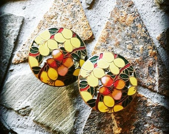 Vintage Cloisonné Round Floral Yellow and Green Silver Trimmed Earring Set