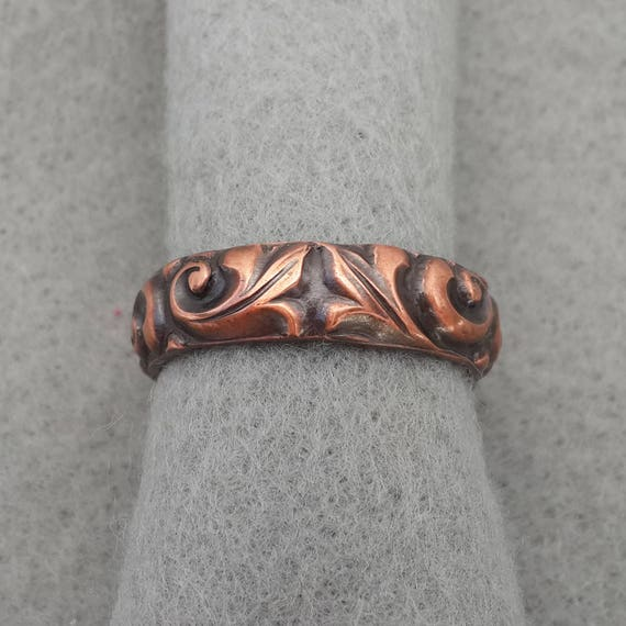 Large Copper Paisley Art Nouveau Wedding Band Romantic Celtic
