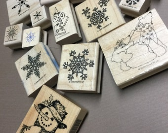 Wintery Themed Stamps - lot of 13 Different Stamps!