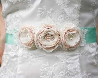 Bridal Sash, Wedding Sash Belt, Ivory and Blush Fabric Flower and Lace, Mint Ribbon Sash