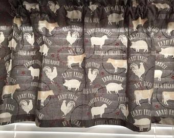 Farm Fresh Gray Kitchen Valance ~ 42 Inches Wide