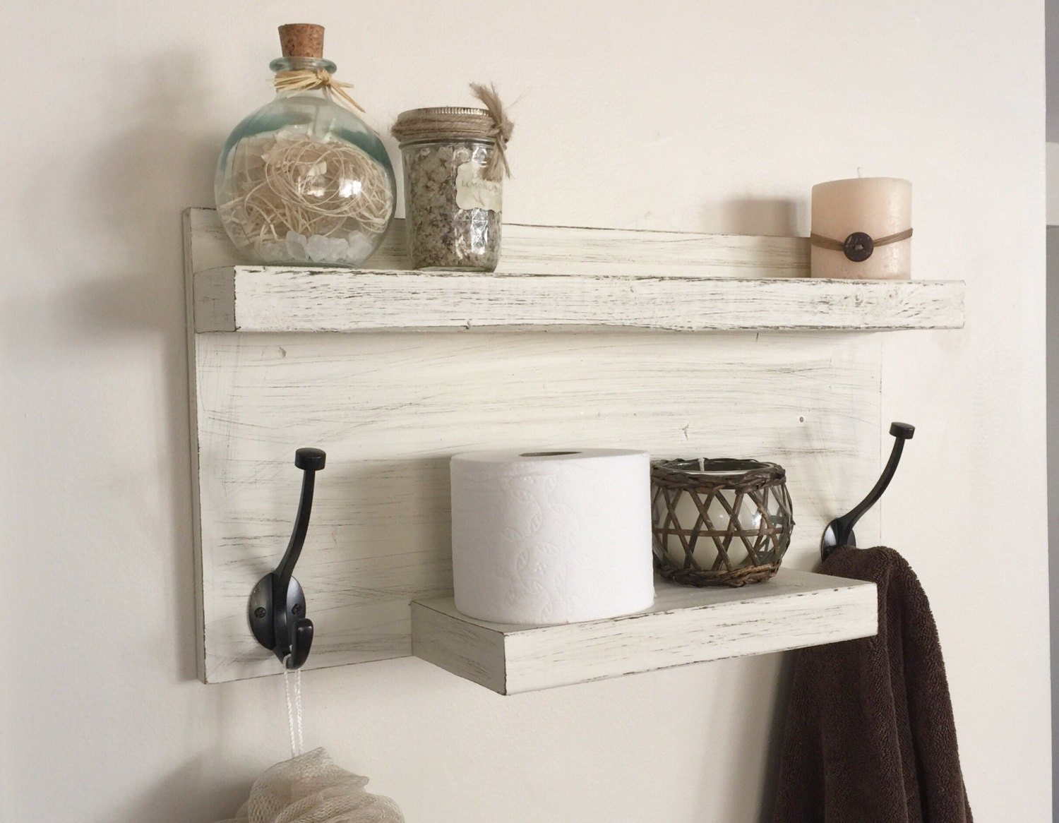 Rustic bathroom towel rack rustic shelf farmhouse decor