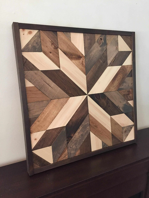 Reclaimed Wooden Wall Art Barn Star in Brown Multicolor