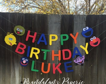 Sesame Street Happy Birthday Banner, you can Choose your Characters, Sesame Street banner