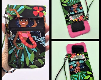 Cell phone Wristlet, Phone Wristlet, iPhone Case, Credit Card Holder, Tropical Wristlet, Travel Bag in Hula Girls - Made in Maui