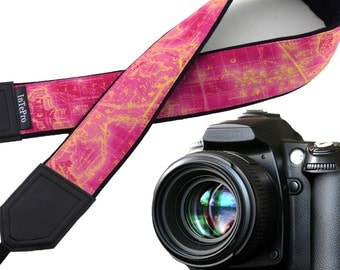 Map camera strap. North America, Europe, Australia, South America. Pink, yellow, black. World map. Saturated gift for graduate.  X-mas gift.