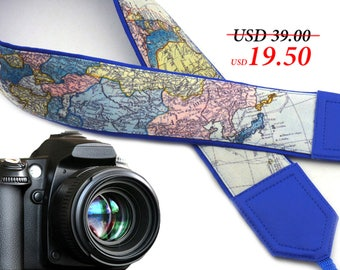 World Map Camera Strap. North America. Europe. Asia. Blue DSLR and SLR Padded Camera Strap. Camera accessories. Great gift by InTePro