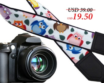 Owl camera strap. Birds camera strap. Black DSLR / SLR Camera Strap. Camera accessories.