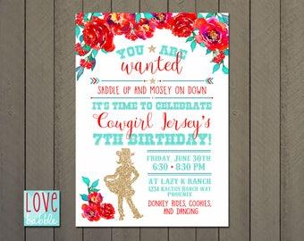 Cowgirl, Barn Dance, Hoedown, Western Cowboy Party Shower Invitation - PRINTABLE DIGITAL FILE 5x7