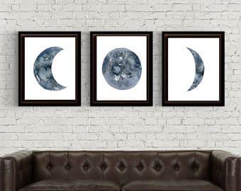 Moon Phase Print Set Of 3 Watercolor Prints Watercolor Moons Art Celestial Wall Decor