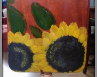 Hand painted table, Occasional table, Card table,  Sunflower painted table, OOAK