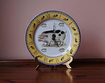 Vintage plate clock, battery wall clock,ceramic wall clock