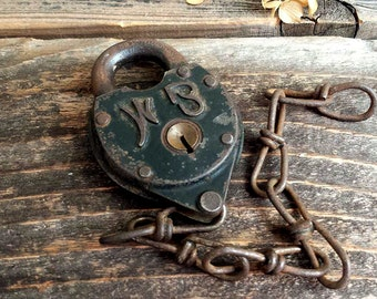 Antique Wilson Bohannan Pad Lock, RARE Vintage Lock with Chain. Late, Heavy WB Pad Lock. No Key.  1800s