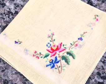 Intricately Stitched Pale Yellow Handkerchief with Flowers