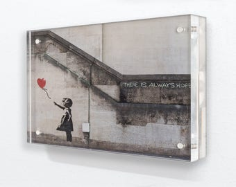 "Banksy - Balloon Girl ""There is always Hope"" - Acrylic Block Photo Frame"