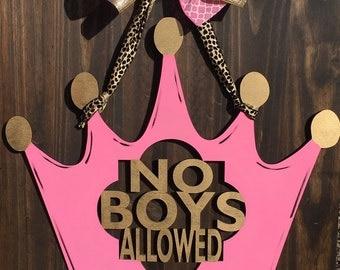 No boys allowed door hanger, no boys allowed sign, no boys allowed decor, no boys allowed, girls room decor, little girl room decor