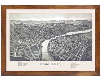 Connellsville, PA 1897 Bird's Eye View; 24x36 Print from a Vintage Lithograph