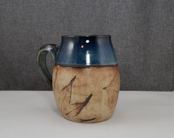 IN STOCK** Ceramic Mugs, Handmade Pottery Mug, Porcelain/Stoneware - Leafs - Coral/Dip