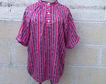 Vintage Girly Pink & Purple Striped Shirt