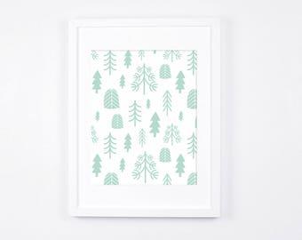 Mint and White Nursery Wall Art, Minimalist Art Print Download, Scandinavian Nursery Decor, Mint Baby Room Art Printable, Nordic Art