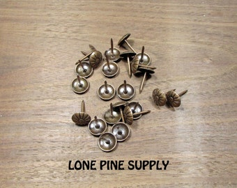 Brass Upholstery Tacks, 100 Upholstery Nails, Antique Brass Upholstery Tacks .
