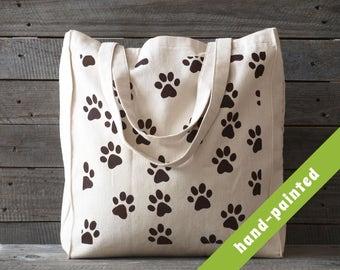 Dog Tote Bag / Dog Lover Gift/ Dog Bag/ Dog Paws/  Dog Paw/Dog Canvas Tote Bag/ Cotton Tote Bag/ Eco Bag/ Hand painted Tote Bag/ Dog Gifts