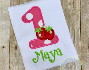 Strawberry Party, Summer Girl Themed Birthday Personalized Birthday Shirt and Optional Shorts